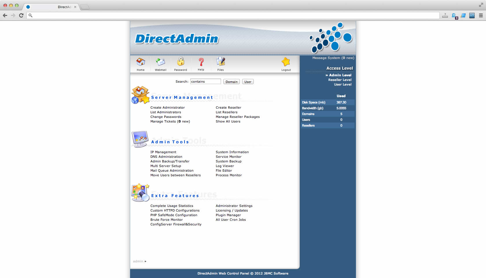 Control Panel DirectAdmin VPS